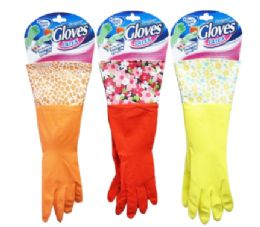 24 Units of Latex Gloves With Design Cuff - Kitchen Gloves