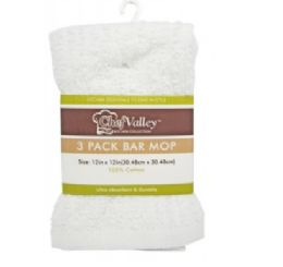 24 Units of White Bar Mops 3 Pack - Kitchen Towels