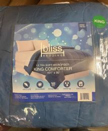 6 Units of 1 Piece Solid Comforter King Size In Blue - Comforters & Bed Sets