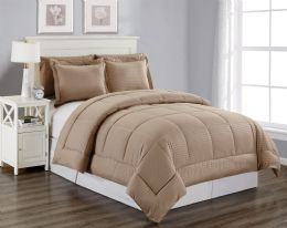 6 Units of 3 Piece Embossed Comforter Set Queen Comforter Plus 2 Shams In Mocha - Comforters & Bed Sets