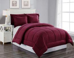 6 Units of 3 Piece Embossed Comforter Set Queen Comforter Plus 2 Shams In Burgandy - Comforters & Bed Sets
