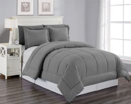 6 Units of 3 Piece Embossed Comforter Set King Size Plus 2 Shams In Grey - Comforters & Bed Sets