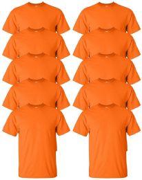 24 Units of Gildan Mens Orange Cotton Crew Neck Short Sleeve T-Shirts Solid Orange Size 3X - Mens T-Shirts