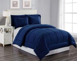 6 Units of 3 Piece Embossed Comforter Set King Size Plus 2 Shams In Navy - Comforters & Bed Sets