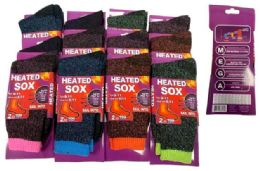 72 Units of -25 C Lady Heated Socks assorted colors - Womens Thermal Socks