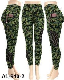 12 Units of Marijuana Leaf Print Legging Mesh Yoga Pants Pockets - Womens Leggings