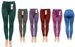 12 Units of Ombre Leggings with 2 Packets at Back Assorted Colors - Womens Leggings