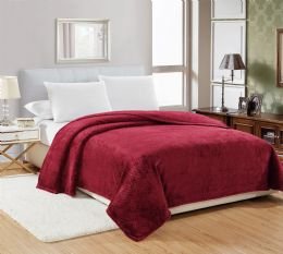 12 Units of Popcorn Textured Microplush Blanket Twin Size In Burgandy - Comforters & Bed Sets