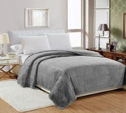 12 Units of Popcorn Textured Microplush Blanket Twin Size In Grey - Comforters & Bed Sets