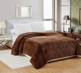 12 Units of Popcorn Textured Microplush Blanket Twin Size In Chocolate - Comforters & Bed Sets