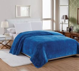 12 Units of Popcorn Textured Microplush Blanket Full Size In Blue - Comforters & Bed Sets