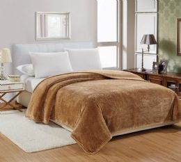 12 Units of Popcorn Textured Microplush Blanket Full Size In Mocha - Comforters & Bed Sets