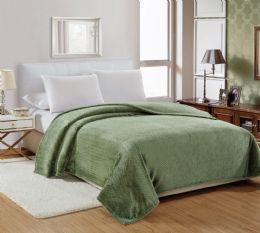 12 Units of Popcorn Textured Microplush Blanket Full Size In Sage - Comforters & Bed Sets