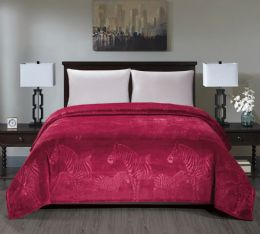 6 Units of Zebra Collection Queen Size Blankets In Burgandy - Fleece & Sherpa Blankets