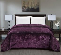 6 Units of Zebra Collection Queen Size Blankets In Plum - Fleece & Sherpa Blankets