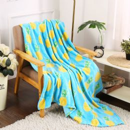 24 Units of Pineapple Tropical Throw - Micro Plush Blankets