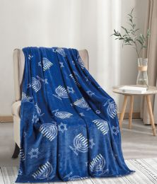 24 Units of Hanukkah Tropical Throw - Micro Plush Blankets