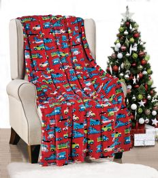 24 Units of Red Christmas Car Holiday Design Micro Plush Throw Blanket 50x60 Multicolor - Micro Plush Blankets
