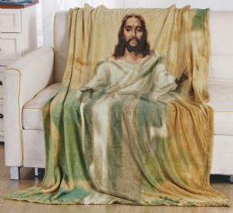12 Units of Jesus Oversized Throw Blanket On Hanger - Micro Plush Blankets