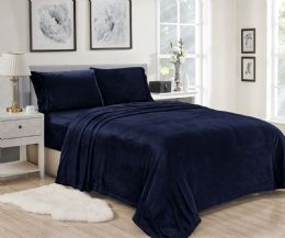 12 Units of Lavana Soft Brushed Microplush Bed Sheet Set Twin Size In Navy - Bed Sheet Sets