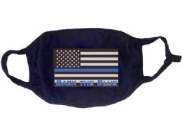 24 Units of Face Cover Back the Blue USA Flag All Black - PPE Mask