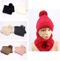 12 Units of Lady Winter Pompom Hat with Neck Cover Set - Winter Sets Scarves , Hats & Gloves