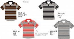24 Units of Men's Stripe Polo Shirt - Mens Polo Shirts