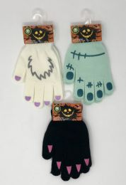 36 Units of HALLOWEEN GLOW IN DARK YOUTH STRETCH GLOVES ASSORTED - Kids Winter Gloves