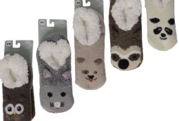 12 Units of KIDS PILE FUR LINED ANIMAL SLIPPERS ASSORTED BY SNUGGLE FEET - Boys Footwear