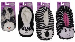 36 Units of Kids Snuggle Feet Sherpa Slipper With Animal Face - Girls Slippers