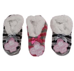 36 Units of Girls Snuggle Feet Chenille Striped Slipper With Sherpa Lining - Girls Footwear
