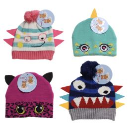 12 Units of Infant And Toddler Monster Critter Hat - Junior / Kids Winter Hats