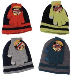12 Units of Polar Extreme Heat Boys Hat Glove Set - Junior / Kids Winter Hats