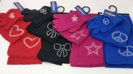 12 Units of GIRLS 3 PIECE EMBELLISHED SET SCARF GLOVES AND HAT - Winter Sets Scarves , Hats & Gloves
