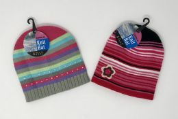24 Units of Girls Striped Hat With Applique Assorted - Junior / Kids Winter Hats