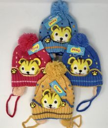 24 Units of Toddler Fur Lined Knit Animal Hats With Ear Flaps - Junior / Kids Winter Hats
