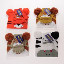 12 Units of Kids Cold Weather 2 Piece Animal Hat And Glove Set - Junior / Kids Winter Hats
