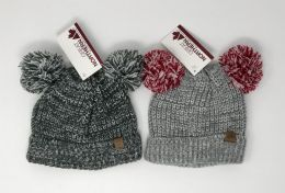 12 Units of Toddler Cuff Knit Hat With Two Poms By Great Northern - Junior / Kids Winter Hats