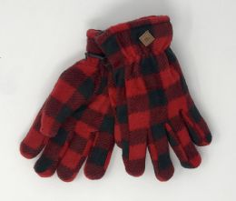 12 Units of KIDS SHERPA BUFFALO PLAID FLEECE GLOVES - Kids Winter Gloves