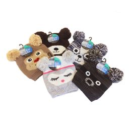 24 Units of Kids Animal Hats With Poms - Junior / Kids Winter Hats