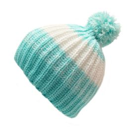24 Units of Kids Heavy Knit 2 Tone Striped Pom Hat - Junior / Kids Winter Hats