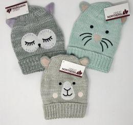 12 Units of Girls Cuffed Knit Critter Hats Assorted - Junior / Kids Winter Hats