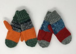 12 Units of Boys Patched Cuffed Knit Mittens Assorted - Junior / Kids Winter Hats