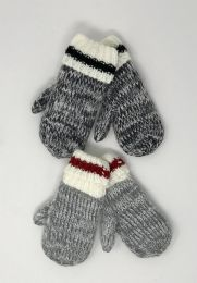 24 Units of TODDLER SHERPA LINED CUFFED KNIT MITTENS - Kids Winter Gloves