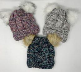 24 Units of Girls Chunky Knit Cuffed Hat With Fur Poms - Junior / Kids Winter Hats