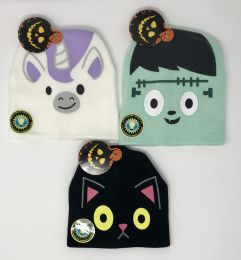 12 Units of Halloween Glow In Dark Youth Beanie Assorted - Junior / Kids Winter Hats