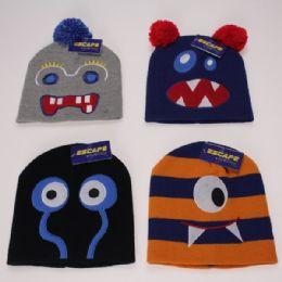 12 Units of Kids Assorted Monster Hats - Junior / Kids Winter Hats