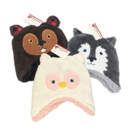 12 Units of Toddler Critter Sherpa Lined Hat - Junior / Kids Winter Hats