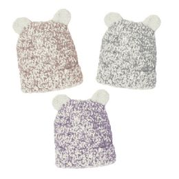 12 Units of Toddlers Soft Boucle Hat With Sherpa Lining - Junior / Kids Winter Hats