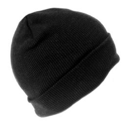 36 Units of MENS KNIT WINTER HAT IN BLACK - Winter Beanie Hats